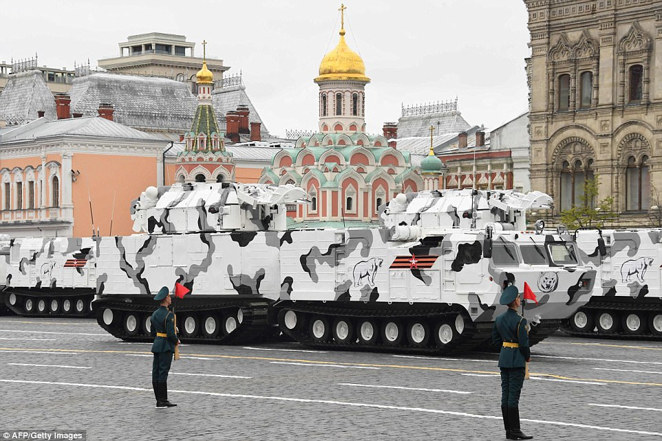 A Russian TOR-M2 tactical surface-to-air missile 'Arctic edition' system was also driven through Red Square this morfing