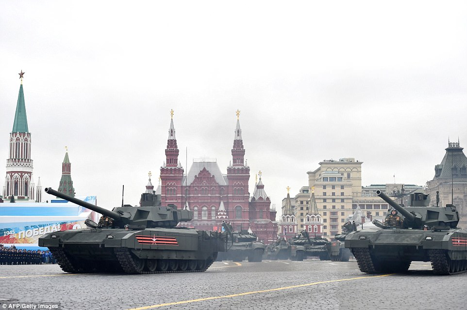These Russian T-14 Armata tanks were also driven slowly through Red Square. But the event did not go totally as planned after a fly-past had to be cancelled