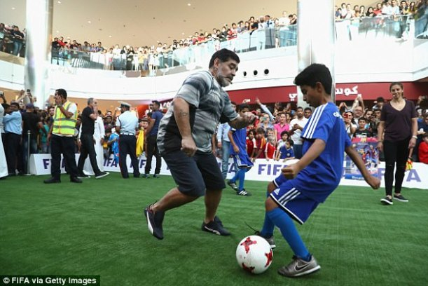 The former Argentina international was taking part in a grass roots football session in Bahrain