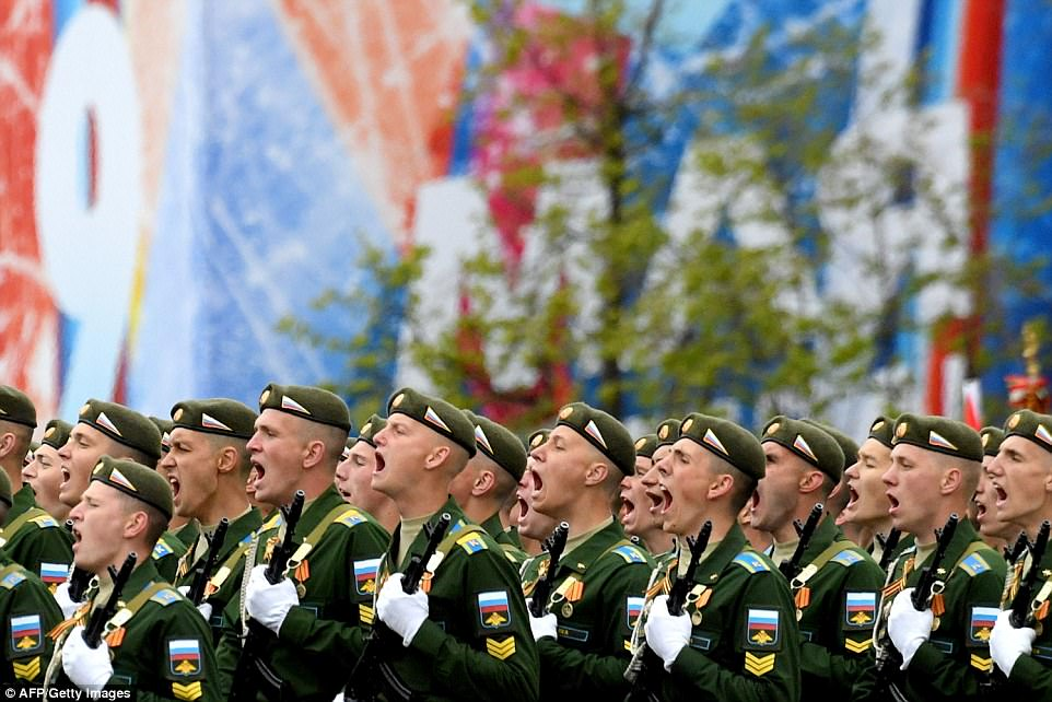 The strongman was using the parade today to showcase Russia's modern military might, with one senior military commander saying it would make foreign foes