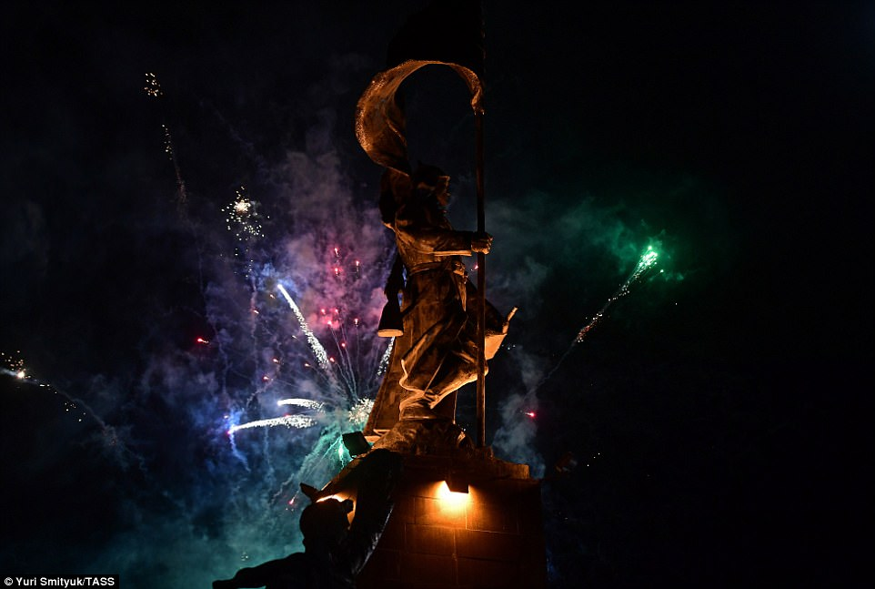 The spectacular fireworks display was to mark the 72nd anniversary of Victory of Nazi Germany in the Great Patriotic War