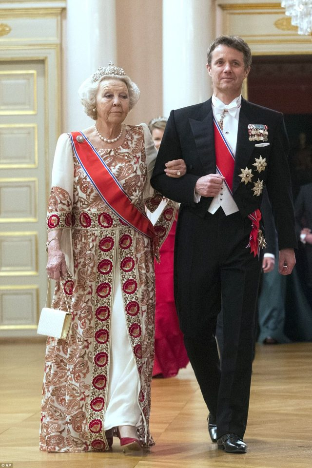 Crown Prince Frederik of Denmark and Princess Beatrix of the Netherlands arrive together at the gala dinner