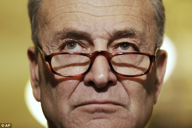 Senate Minority Leader Chuck Schumer (above) claimed the firing was a cover-up attempt over Trump's alleged links to Russia