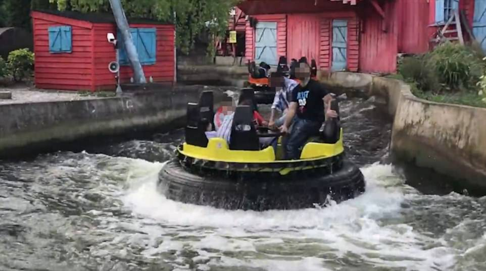 Thrillseekers were filmed standing up on Splash Canyon at Drayton Manor, pictured, just two days before 11-year-old Evha Jannath was killed falling from the ride after standing up to change seats with a classmate on a school trip