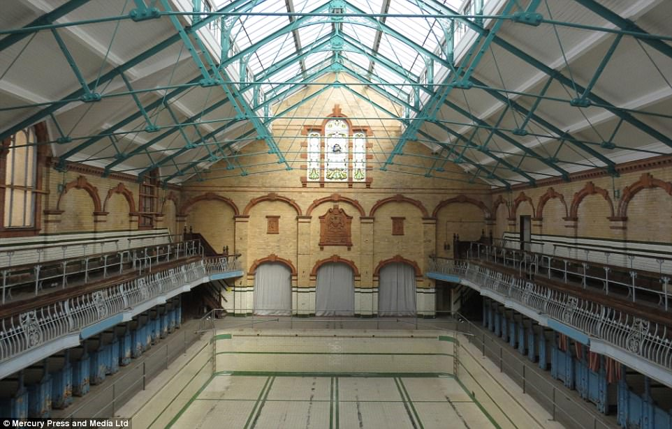 Beloved: In recent years the baths, which won the BBC's landmark series Restoration in 2003, have been re-imagined to host events such as vintage home and wedding shows, a gin festival, film screenings, a beer convention, and a rave