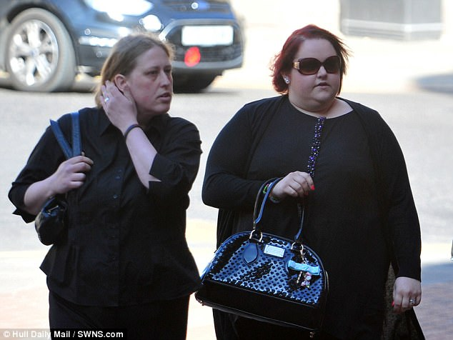 It is alleged that, when her step-mother (left) found 34 sweet wrappers stashed in her bedroom, she hit the girl with a hammer 34 times. Her mother (right) is also accused of hitting her