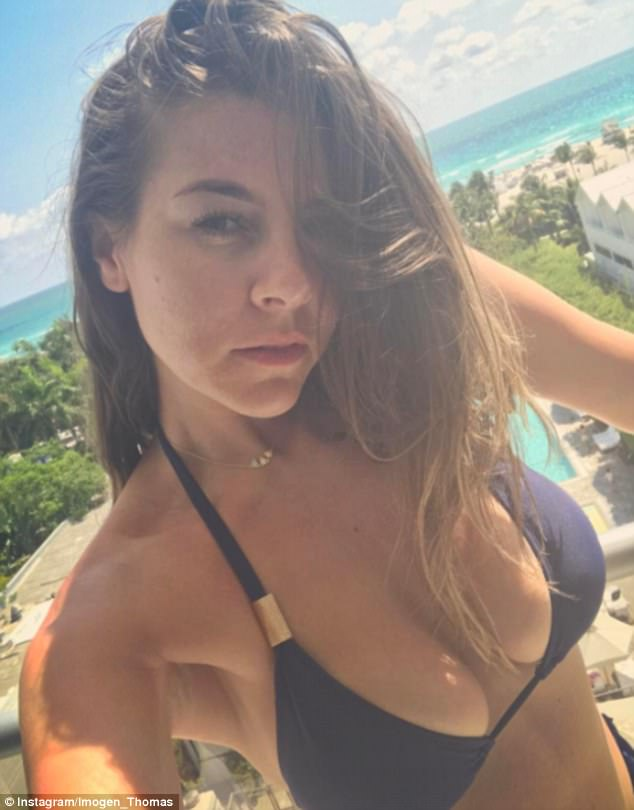 Showcasing her best assets: The starlet - who has since jetted back to the UK - treated her social media followers to a slew of bikini-clad selfies while overseas
