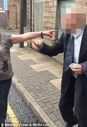Shocking footage shows the man appear to eventually admit to having had sex with the dog after saying: 'I'd rather shag it than you'
