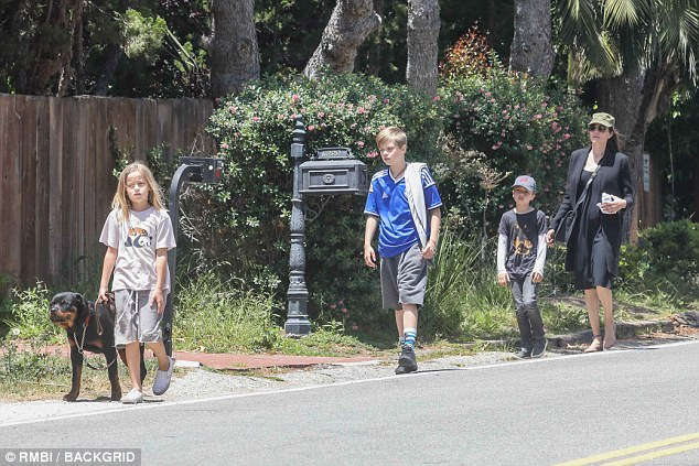 Casual: Dressed for the day in the heat, Angelina wore an all black outfit of a dress and blazer, protecting herself from the sun with a khaki page boy hat