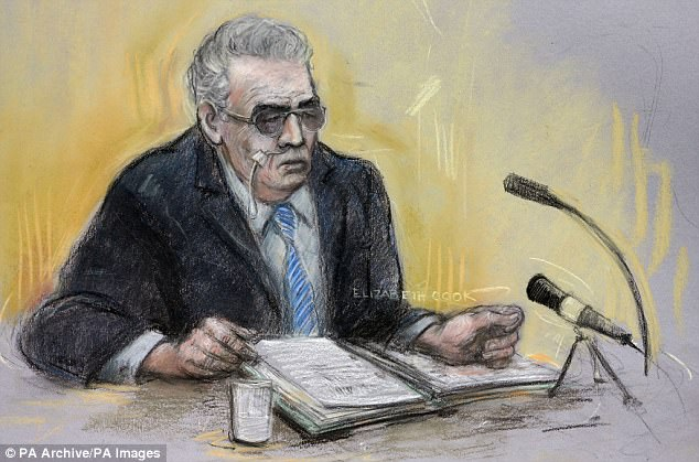 Sketch  of Brady in 2013 when he appealed against being held in a secure unit. He said he should be returned to a normal prison and had killed for  the 'existential experience'