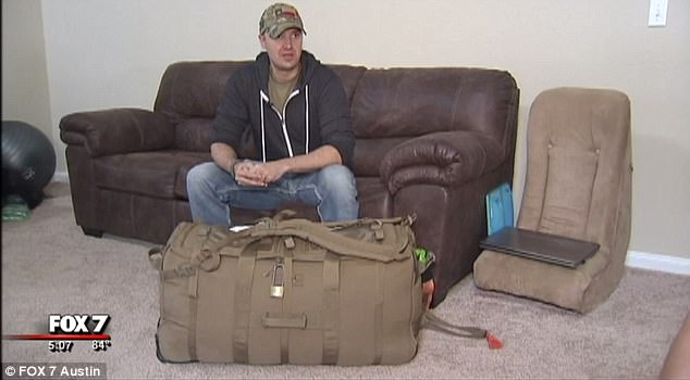 First Lieutenant John Rader had to pay $200 to get his military-issued duffel bag on a United Airlines flight out of El Paso, Texas on Monday, on his way home from serving in Afghanistan