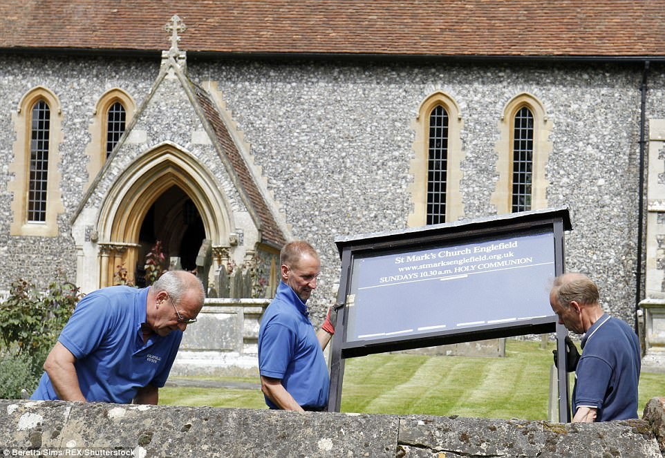 Workmen were seen making some last-minute improvements to St Mark's Church just 48 hours before Pippa Middleton and James Matthews exchange vows