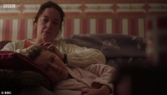 Lorna Bowen, played by Lisa Riley, comforts daughter Ruby after she tells her they kept her termination to use as evidence later