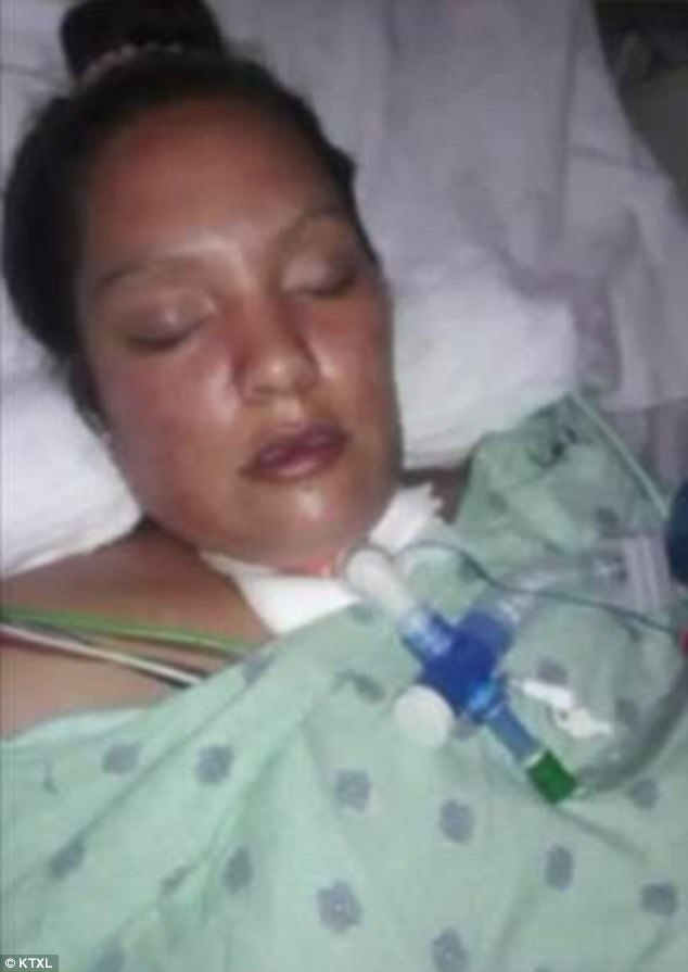 Five people have been hospitalized after eating nacho cheese from a Sacramento gas station, California officials said. Lavinia Kelly (pictured), 33, who was sickened last month has spent the past three weeks in intensive care after getting botulism