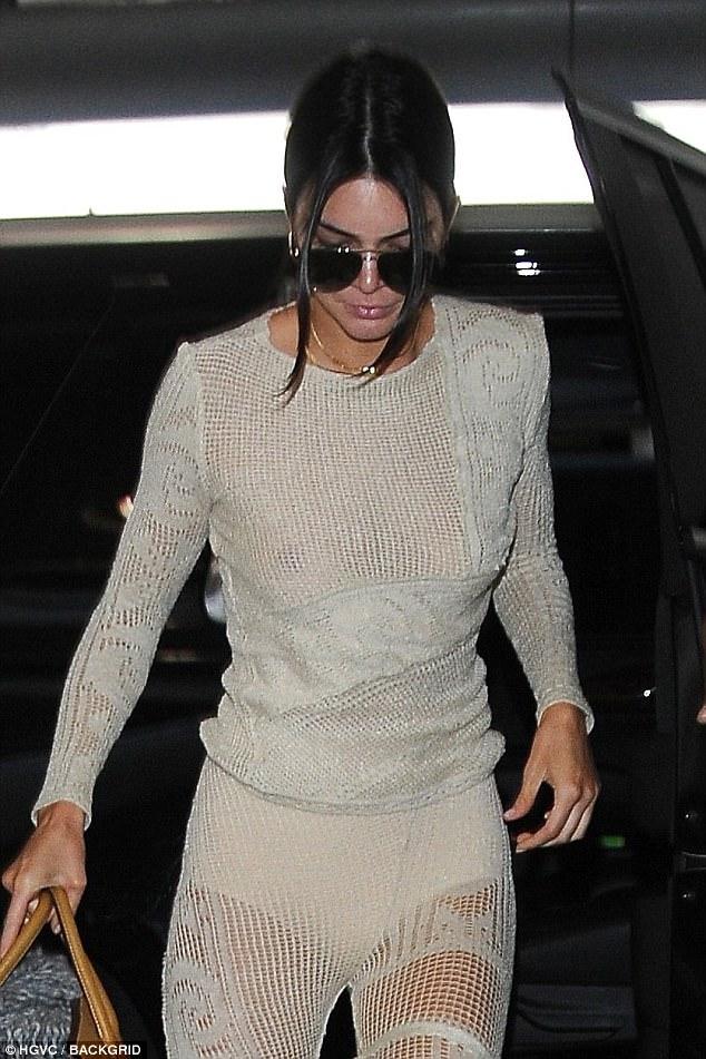 Au naturel: Kendall seemed to be traveling make-up free