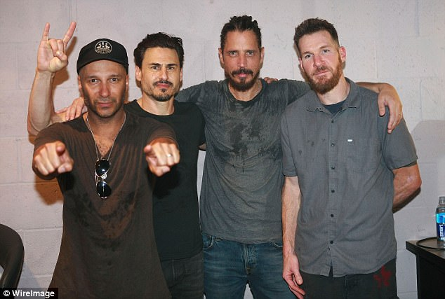 His love: Audioslave band mates (L-R) Tom Morello, Brad Wilk, Chris and Tim Commerford posed for a photo backstage after performing at Teragram Ballroom during the Anti-Inaugural Ball on January 20, 2017 in Los Angeles