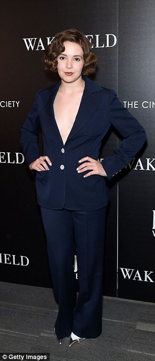 In style: Victoria Bruno wore a bold navy blue pantsuit