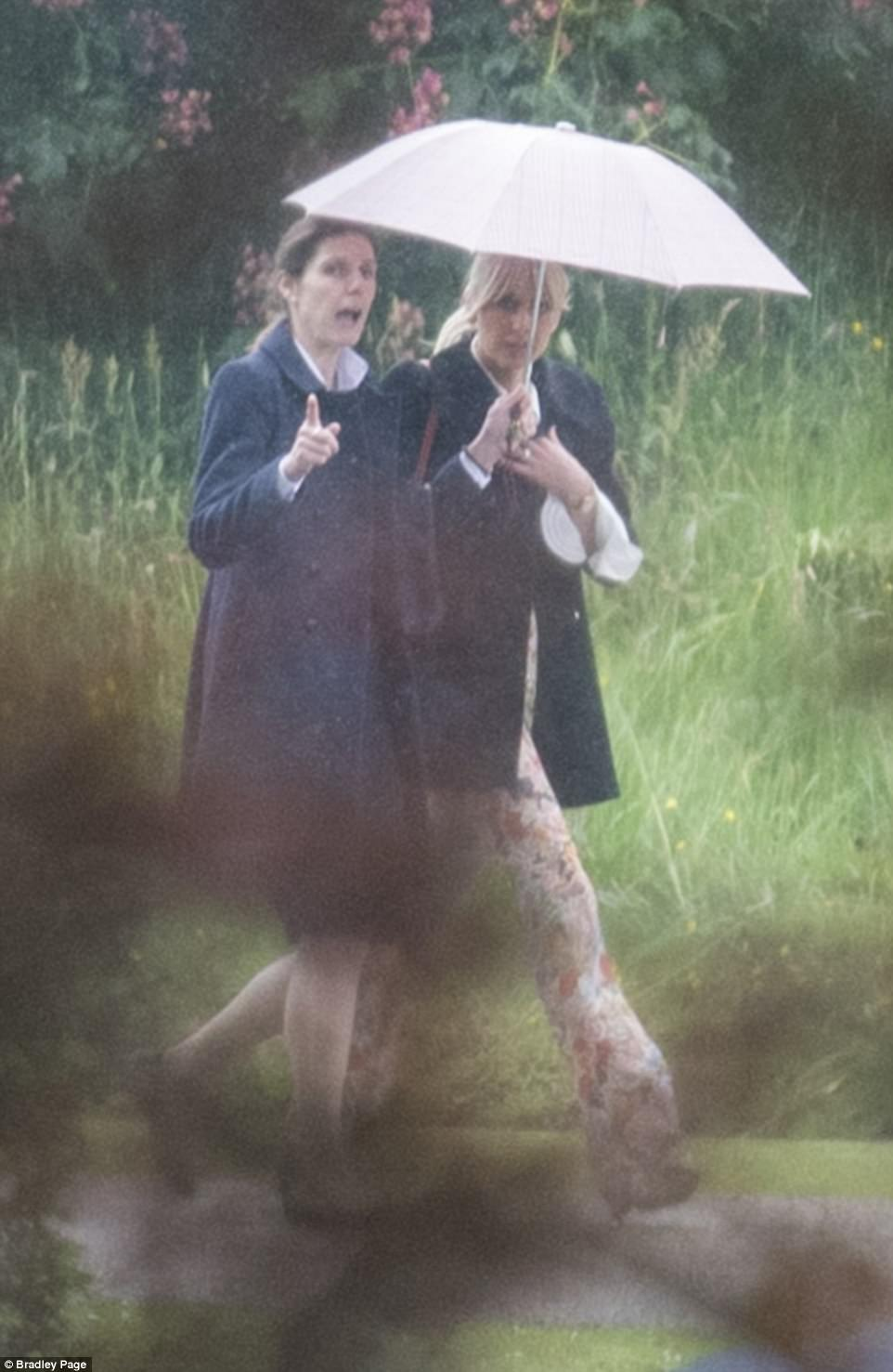 Prince George and Princess Charlotte's Spanish nanny, Maria Borrallo, left, was also seen arriving. The royal youngsters will be page boy and flower girl but didn't appear to be at the rehearsal