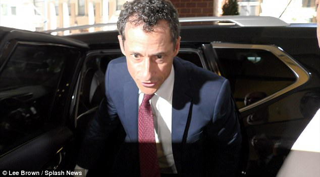 Here's Tony: Weiner was chauffeured back to his New York City apartment after his appearance on Friday (above exiting car)