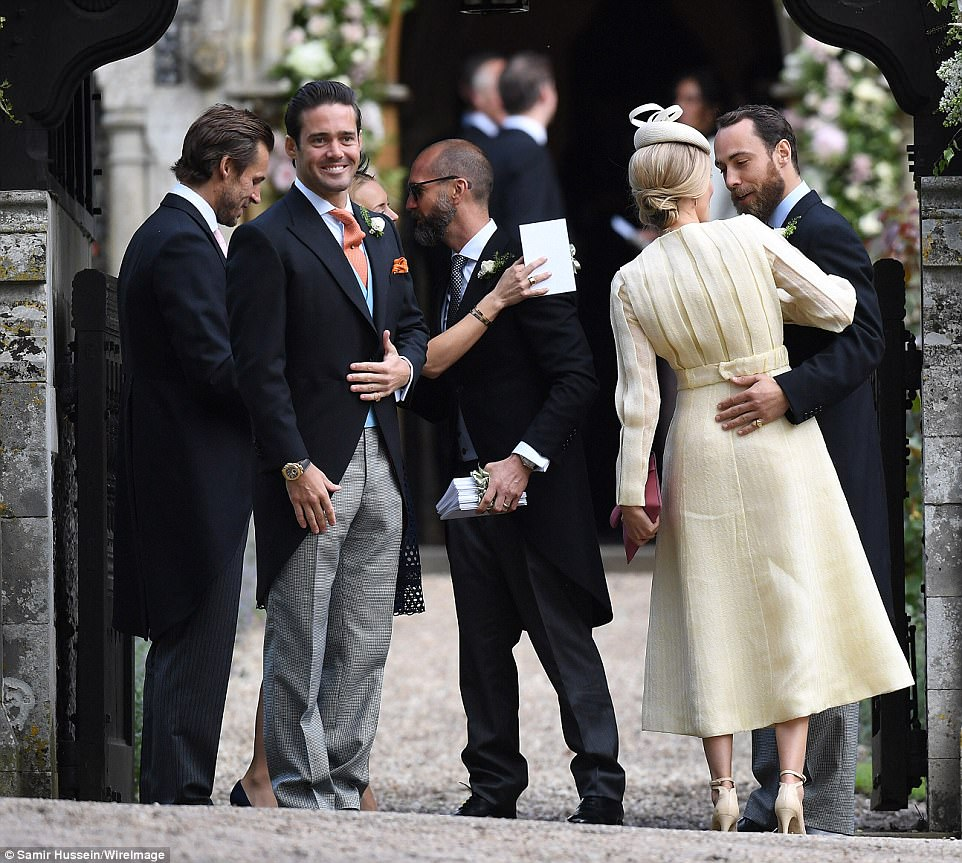 Spencer Matthews beamed as he welcomed guests to the church, whilst  Donna Air gave her boyfriend James Middleton a loving embrace