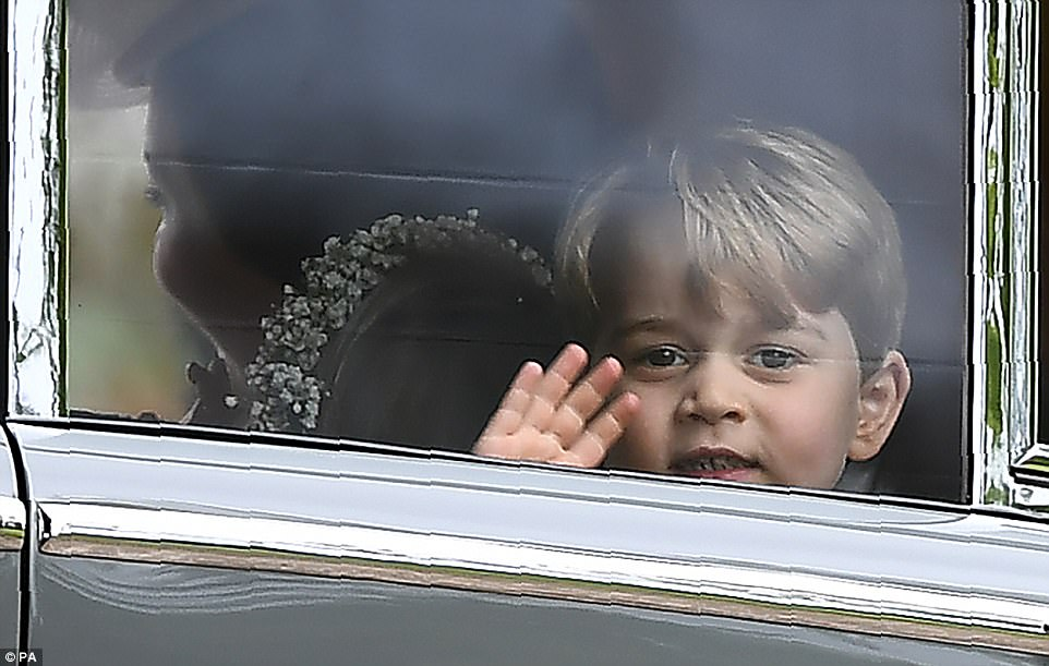 Goodbye! The adorable three-year-old waved goodbye to wellwishers who had gathered by the church to steal a glance of the royal family