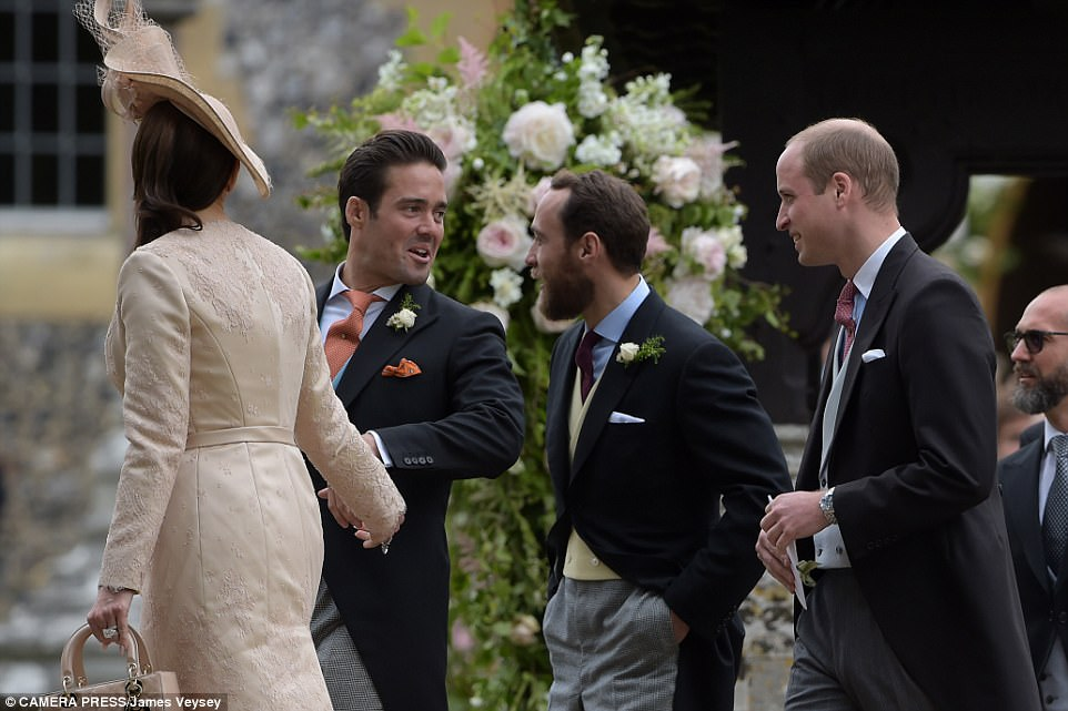 Spencer, who is a notorious party boy, was in high spirits as he laughed and joked with new brother-in-law James Middleton and Prince William following the service. Spencer's companion carried a luxurious boxy Dior tote, which costs up to £1,000