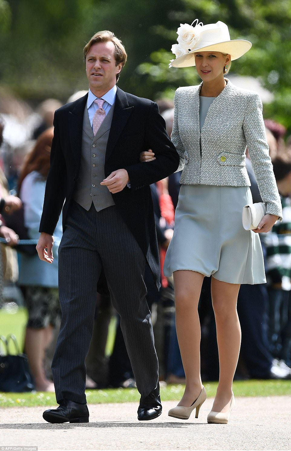 Lady Gabriella Windsor is the only daughter of Prince Michael of Kent and his wife - the Queen's cousin. She flashed her legs in a chic blue dress teamed with a smart blazer as she arrived on the arm of a male companion