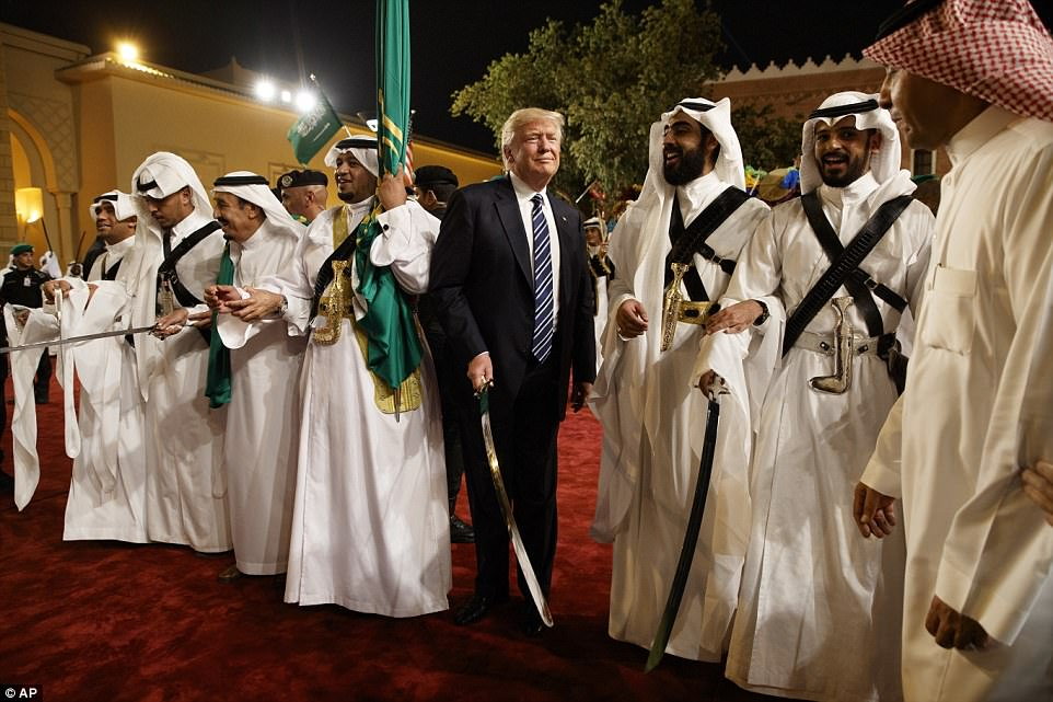 The welcome took place before a state dinner in Trump's honor with the Saudi king and other senior Saudi royals