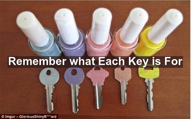 Too many keys on your chain? End confusion forever more by assigning each one a different colour using nail polish