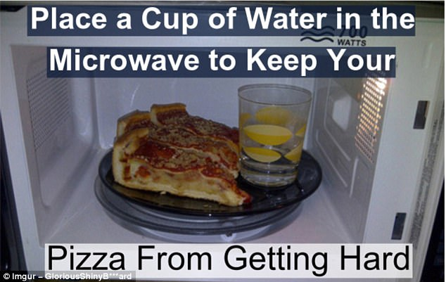 Keep it soft: The microwave will suck all the moisture out from the cup of water, instead of your leftover pizza
