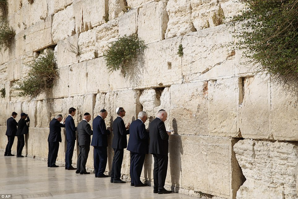 White House staff and officials prayed at the wall on the historic trip. The president will meet withPrime Minister Benjamin Netanyahu on Monday
