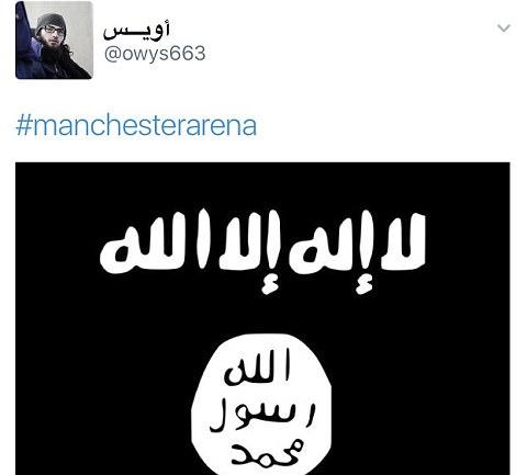 La cuenta de Twitter también publicó esta imagen de la bandera ISIS con el hashtag 'Manchester Arena'