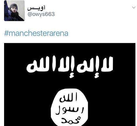 The Twitter account also posted this picture of the ISIS flag with the hashtag 'Manchester Arena'