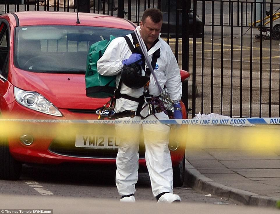 Forensics officers were brought into the foyer area where the bomb went off this morning as the investigation begun