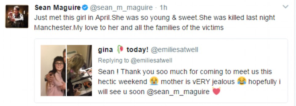Actor Sean Maguire took to Twitter to pay his respects to the 'young and sweet' teenager, writing: 'Just met this girl in April