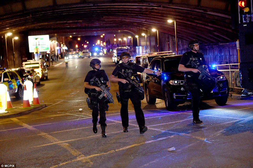 Armed police flooded the scene in central Manchester following the  terror attack at the pop concert last night