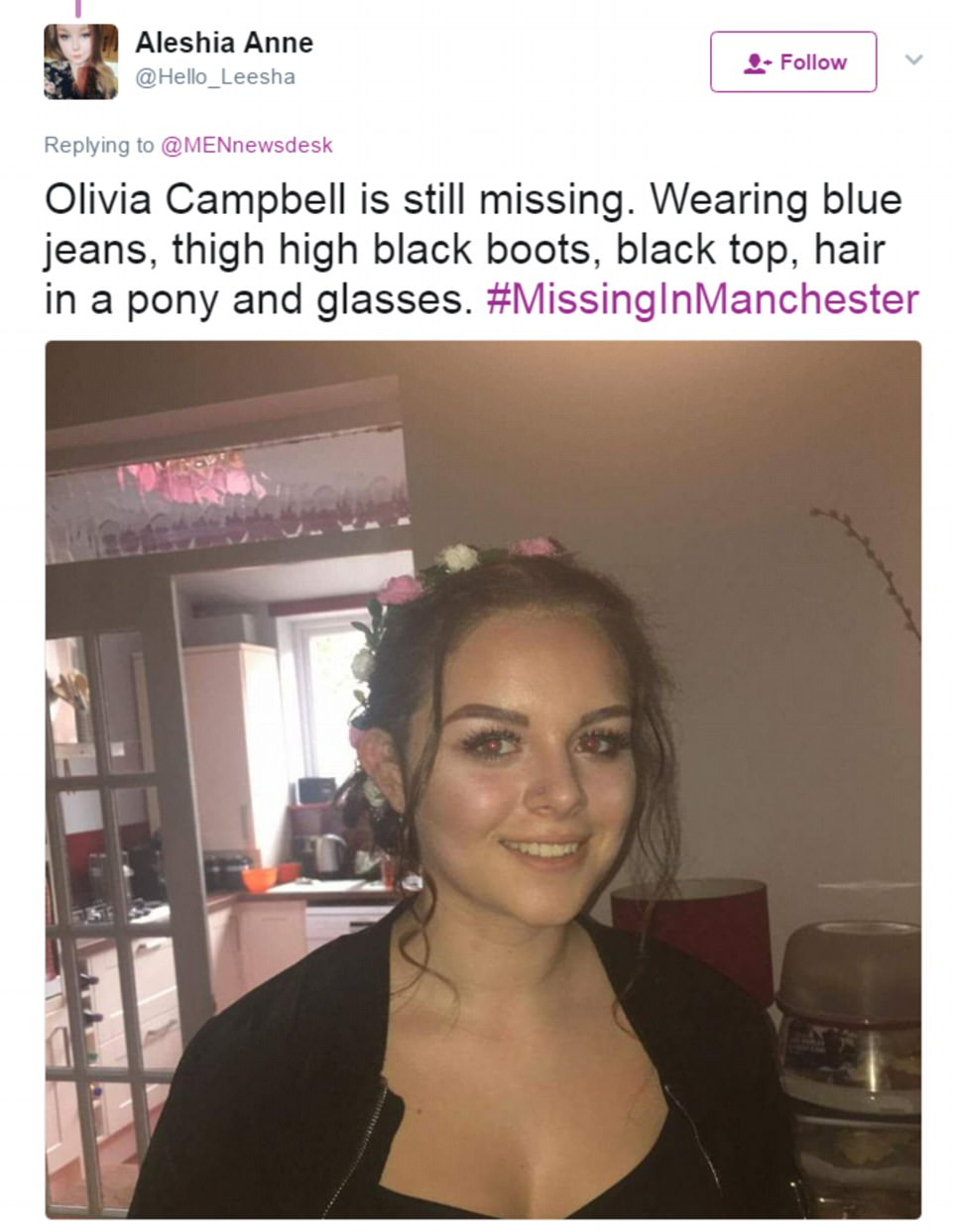 Missing: A woman named Olivia Campbell was reported as missing by a close friend. Her friend said she was wearing blue jeans and thigh-high black boots