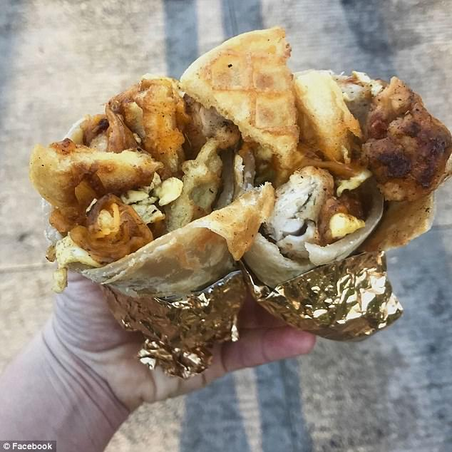 Pictured is one of the burritos the Portland pop-up store sold to a happy customer before it was closed