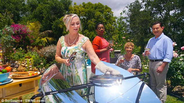 The solar BBQ allows people to cook in sunny weather instead of using fire - the cutting edge design cooks a meal in just ten minutes and heats up fives times faster than a charcoal grill