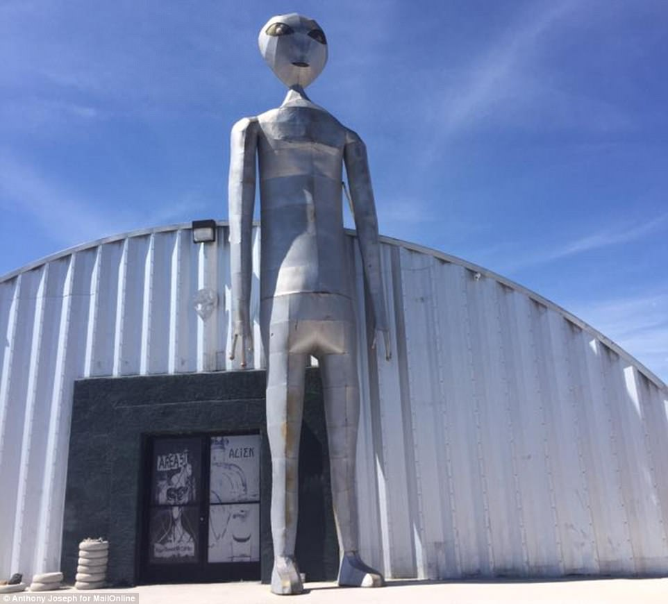 Pat has lived in Rachel all her life. To say it's a small town is an understatement - only 50 people live here. Pictured is an alien museum in the desert