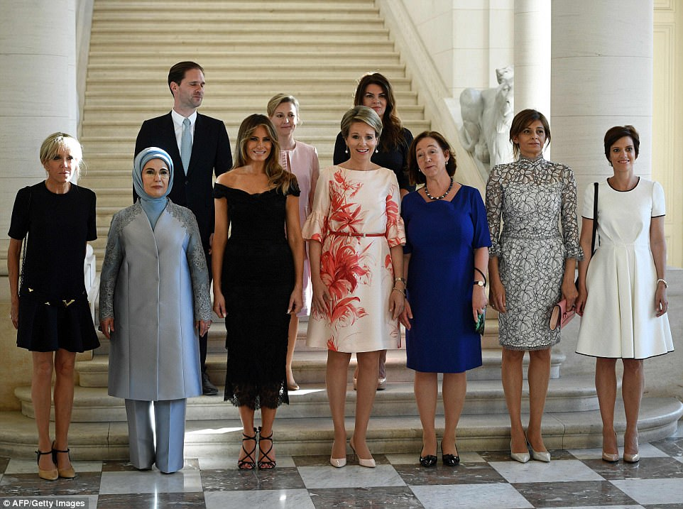 At the palace, Melania posed for photos with (front row from L to R) First Lady of France Brigitte Macron, First Lady of Turkey Emine Gulbaran Erdogan,  Queen Mathilde of Belgium, Jens Stoltenberg's partner Ingrid Schulerud, Bulgarian President Rumen Radev's partner Desislava Radeva, Belgian Prime Minister Charles Michel's partner Amelie Derbaudrenghien and (back row L to R) First Gentleman of Luxembourg Gauthier Destenay, partner of Slovenia's Prime Minister Cerar's wife Mojca Stropnik and First Lady of Iceland Thora Margret Baldvinsdottir