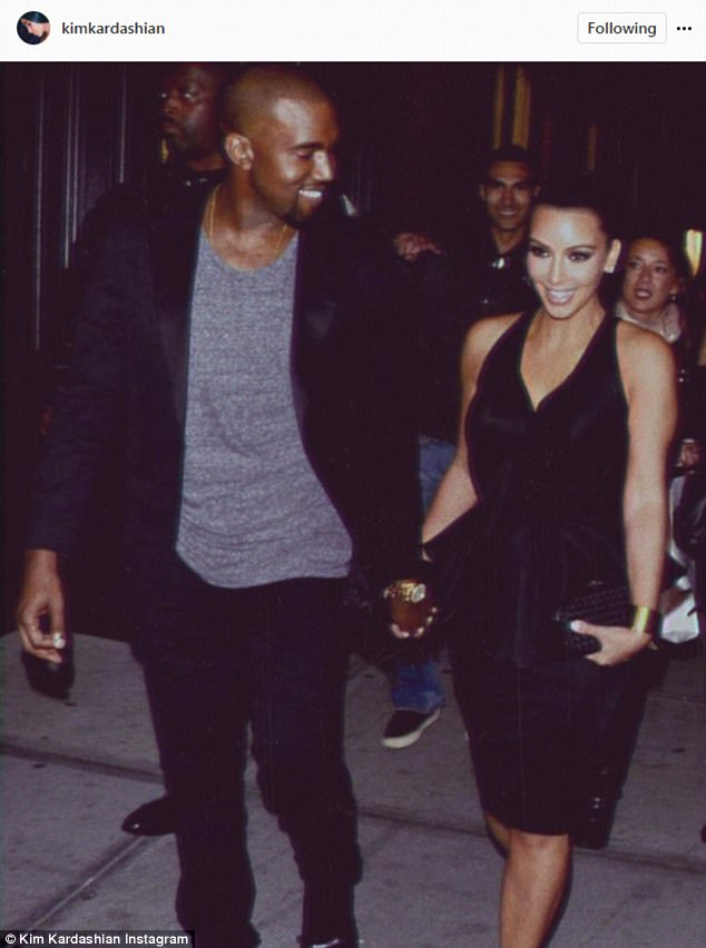 Going strong: Kim Kardashian, 36, posted a throwback snap of her and Kanye West, 39, to honor their 3rd wedding anniversary