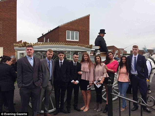 The inquest heard Ms Whiting would use any money left over from her benefits to 'treat' her kids. Pictured are her family at her funeral