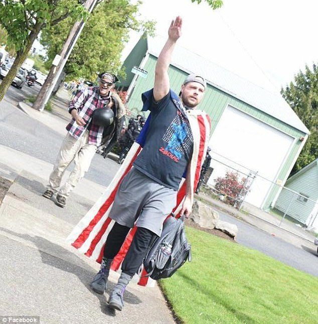 The accused is also a white supremacist who was pictured giving Nazi salutes at a free speech rally in April with an American Revolutionary War flag tied like a cape around his shoulders