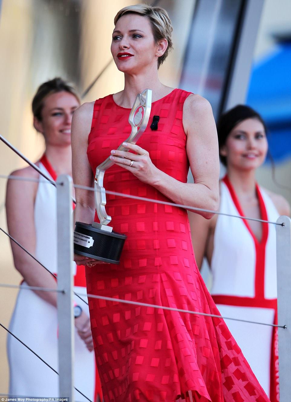Princess Charlene Stuns In Scarlet At Monaco Grand Prix
