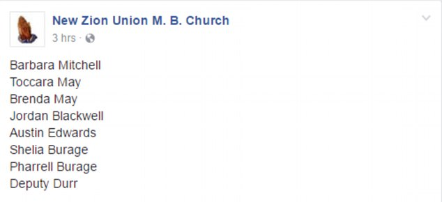 A Facebook page belonging to New Zion Union M. B. Church in Bogue Chitto posted a list of names (above) believed to be the victims in the shooting