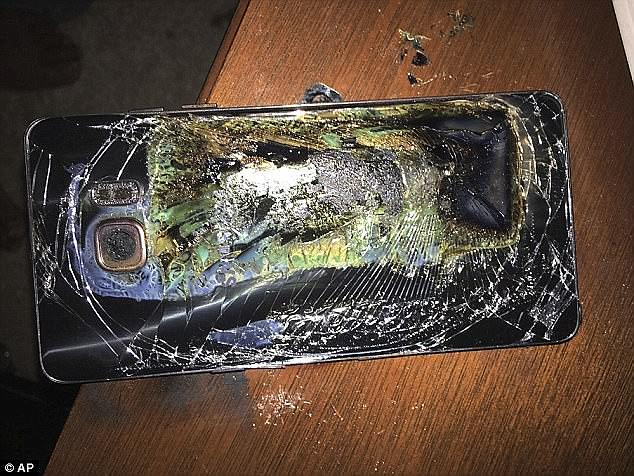Airliners banned the devices over safety fears due to overheating batteries led to the devices catching fire (pictured). Samsung had to recall three million handsets