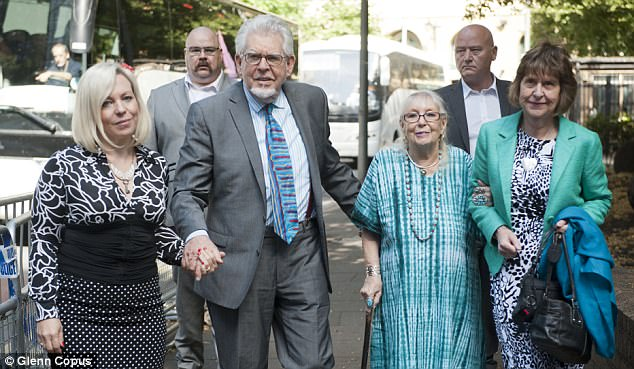 Harris is pictured outside the same court in 2014 with (from left) his daughter Bindi, wife Alwen and niece Jenny