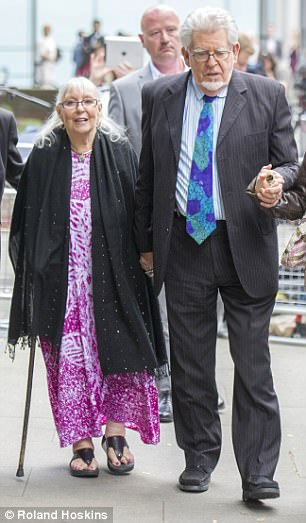 Harris tried to stand trial from the comfort of his own hometo be close to his ill wife Alwen (pictured together outside court in May 2014)