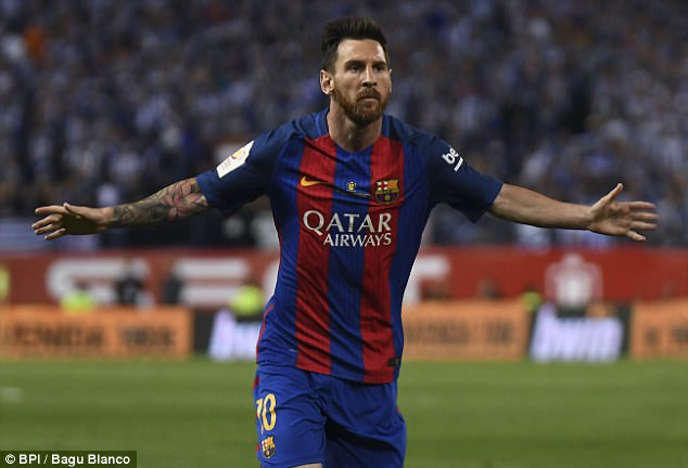Lionel Messi is ranked third in the chart, which features a total of 38 footballers